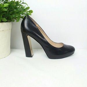 Nine West Desired Black Leather Block Heel Sz 8.5